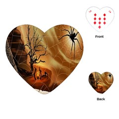 Digital Art Nature Spider Witch Spiderwebs Bricks Window Trees Fire Boiler Cliff Rock Playing Cards (heart)  by Simbadda
