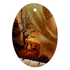 Digital Art Nature Spider Witch Spiderwebs Bricks Window Trees Fire Boiler Cliff Rock Oval Ornament (two Sides) by Simbadda