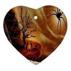 Digital Art Nature Spider Witch Spiderwebs Bricks Window Trees Fire Boiler Cliff Rock Heart Ornament (two Sides) by Simbadda