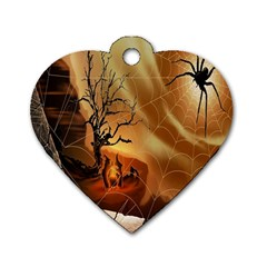 Digital Art Nature Spider Witch Spiderwebs Bricks Window Trees Fire Boiler Cliff Rock Dog Tag Heart (two Sides) by Simbadda