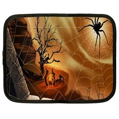 Digital Art Nature Spider Witch Spiderwebs Bricks Window Trees Fire Boiler Cliff Rock Netbook Case (large) by Simbadda