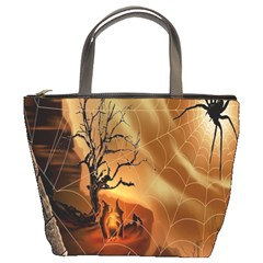 Digital Art Nature Spider Witch Spiderwebs Bricks Window Trees Fire Boiler Cliff Rock Bucket Bags by Simbadda
