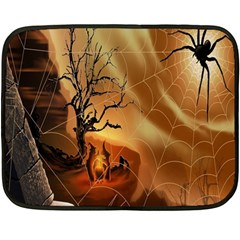 Digital Art Nature Spider Witch Spiderwebs Bricks Window Trees Fire Boiler Cliff Rock Fleece Blanket (mini) by Simbadda