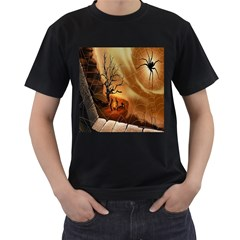 Digital Art Nature Spider Witch Spiderwebs Bricks Window Trees Fire Boiler Cliff Rock Men s T Shirt (black) by Simbadda