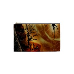 Digital Art Nature Spider Witch Spiderwebs Bricks Window Trees Fire Boiler Cliff Rock Cosmetic Bag (small)  by Simbadda