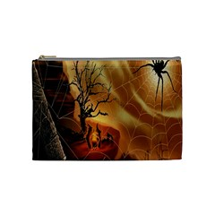 Digital Art Nature Spider Witch Spiderwebs Bricks Window Trees Fire Boiler Cliff Rock Cosmetic Bag (medium)  by Simbadda