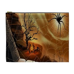 Digital Art Nature Spider Witch Spiderwebs Bricks Window Trees Fire Boiler Cliff Rock Cosmetic Bag (xl) by Simbadda