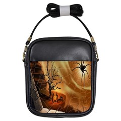 Digital Art Nature Spider Witch Spiderwebs Bricks Window Trees Fire Boiler Cliff Rock Girls Sling Bags