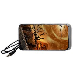 Digital Art Nature Spider Witch Spiderwebs Bricks Window Trees Fire Boiler Cliff Rock Portable Speaker (black) by Simbadda