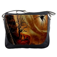 Digital Art Nature Spider Witch Spiderwebs Bricks Window Trees Fire Boiler Cliff Rock Messenger Bags by Simbadda
