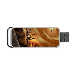 Digital Art Nature Spider Witch Spiderwebs Bricks Window Trees Fire Boiler Cliff Rock Portable Usb Flash (one Side) by Simbadda