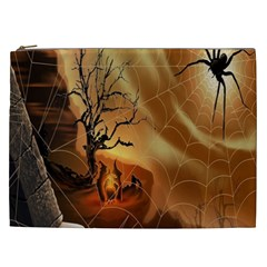Digital Art Nature Spider Witch Spiderwebs Bricks Window Trees Fire Boiler Cliff Rock Cosmetic Bag (xxl)  by Simbadda