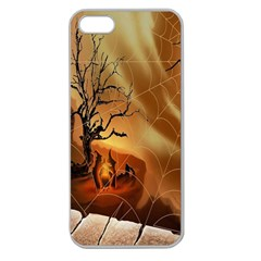 Digital Art Nature Spider Witch Spiderwebs Bricks Window Trees Fire Boiler Cliff Rock Apple Seamless Iphone 5 Case (clear) by Simbadda