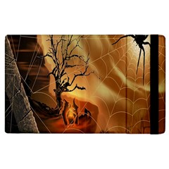 Digital Art Nature Spider Witch Spiderwebs Bricks Window Trees Fire Boiler Cliff Rock Apple Ipad 2 Flip Case by Simbadda