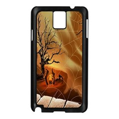 Digital Art Nature Spider Witch Spiderwebs Bricks Window Trees Fire Boiler Cliff Rock Samsung Galaxy Note 3 N9005 Case (black)