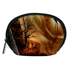 Digital Art Nature Spider Witch Spiderwebs Bricks Window Trees Fire Boiler Cliff Rock Accessory Pouches (medium)