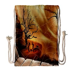 Digital Art Nature Spider Witch Spiderwebs Bricks Window Trees Fire Boiler Cliff Rock Drawstring Bag (large) by Simbadda
