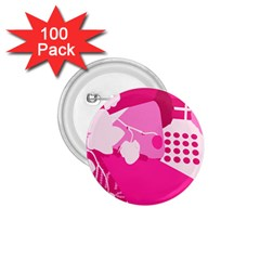 Flower Floral Leaf Circle Pink White 1 75  Buttons (100 Pack)