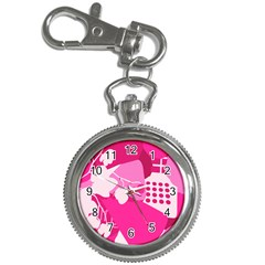 Flower Floral Leaf Circle Pink White Key Chain Watches by Alisyart