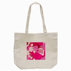 Flower Floral Leaf Circle Pink White Tote Bag (cream) by Alisyart