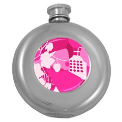 Flower Floral Leaf Circle Pink White Round Hip Flask (5 Oz) by Alisyart