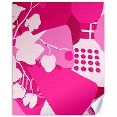 Flower Floral Leaf Circle Pink White Canvas 16  X 20