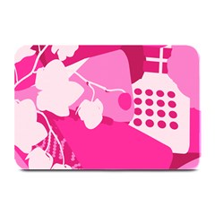 Flower Floral Leaf Circle Pink White Plate Mats by Alisyart