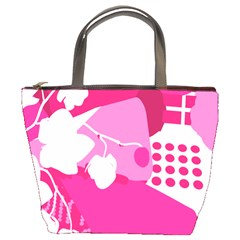 Flower Floral Leaf Circle Pink White Bucket Bags by Alisyart