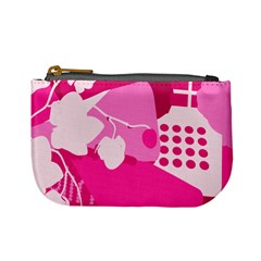 Flower Floral Leaf Circle Pink White Mini Coin Purses by Alisyart