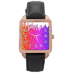 Square Spectrum Abstract Rose Gold Leather Watch