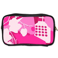 Flower Floral Leaf Circle Pink White Toiletries Bags 2 Side