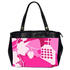 Flower Floral Leaf Circle Pink White Office Handbags (2 Sides)  by Alisyart
