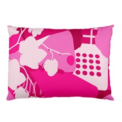 Flower Floral Leaf Circle Pink White Pillow Case (two Sides) by Alisyart