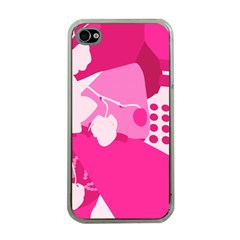 Flower Floral Leaf Circle Pink White Apple Iphone 4 Case (clear) by Alisyart