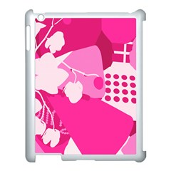Flower Floral Leaf Circle Pink White Apple Ipad 3/4 Case (white)