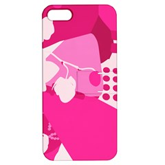 Flower Floral Leaf Circle Pink White Apple Iphone 5 Hardshell Case With Stand