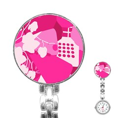Flower Floral Leaf Circle Pink White Stainless Steel Nurses Watch by Alisyart