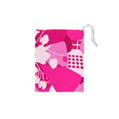 Flower Floral Leaf Circle Pink White Drawstring Pouches (xs)  by Alisyart