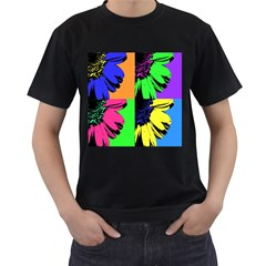 Flower Pop Sunflower Men s T Shirt (black) (two Sided) by Alisyart