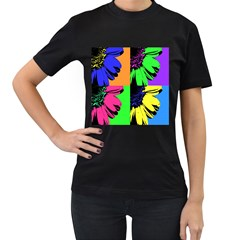 Flower Pop Sunflower Women s T Shirt (black) (two Sided) by Alisyart