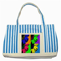 Flower Pop Sunflower Striped Blue Tote Bag