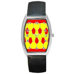 Football Blender Image Map Red Yellow Sport Barrel Style Metal Watch by Alisyart