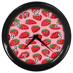 Fruit Strawbery Red Sweet Fres Wall Clocks (black)