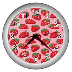 Fruit Strawbery Red Sweet Fres Wall Clocks (silver)