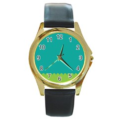 Green Blue Teal Scallop Wallpaper Wave Round Gold Metal Watch by Alisyart