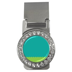 Green Blue Teal Scallop Wallpaper Wave Money Clips (cz)