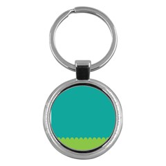 Green Blue Teal Scallop Wallpaper Wave Key Chains (round)