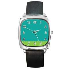 Green Blue Teal Scallop Wallpaper Wave Square Metal Watch by Alisyart