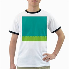 Green Blue Teal Scallop Wallpaper Wave Ringer T Shirts