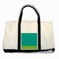 Green Blue Teal Scallop Wallpaper Wave Two Tone Tote Bag